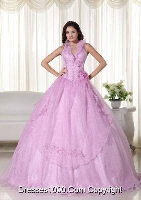 Pink Puffy Halter Beading 2014 Quinceanera Dress with Embroidery