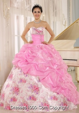 Printing Sweetheart Beading and Pick-ups For Multi-color Quinceanera Dress