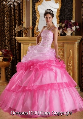 Romantic Ball Gown One Shoulder  Appliques Quinceanera Dress with Beading
