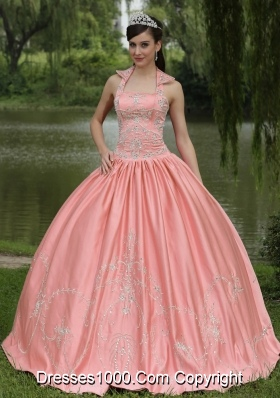 Watermelon 2014 New Arrival Square Neckline Beaded Quinceanera Dress with Appliques