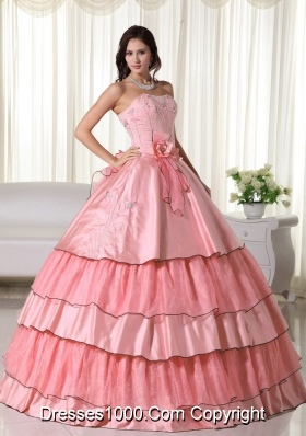 Watermelon Puffy Beading 2014 Quinceanera Dress Strapless with Ruffled Layers