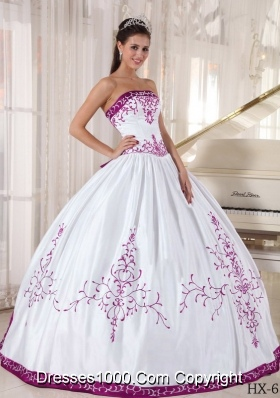 Fuchsia and White Strapless Satin Embroidery Sweet Sixteen Quinceanera Dresses