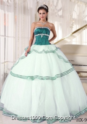 Puffy Turquoise and White Sweet Sixteen Quinceanera Dresses with ...
