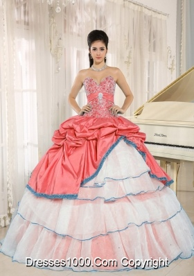 Sweetheart Beaded and Pick-ups For White and Red Quinceanera Dress Ruffled Layers