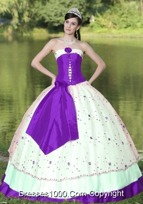 Flower Decorate Strapless Purple and White Quinceanera Gowns