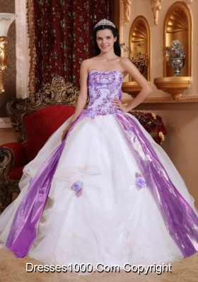 Hand Made Flowers and Appliques Quinceanera Dresses in White and Lilac