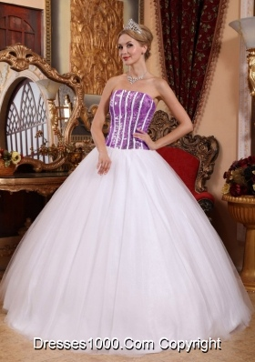 Princess Tulle White  Sweet Sixteen Quinceanera Dresses with Lilac Squins