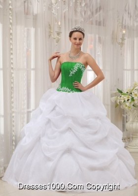 Strapless Organza Appliques White and Green Quinces Dresses with Pick-ups