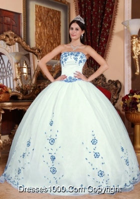 Strapless OrganzaWhite Quinceanera Dress with Blue Embroidery