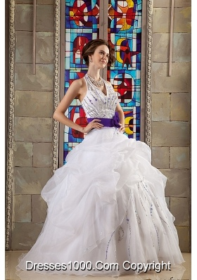 White Halter Organza Beaded Sweet 15 Dresses with Purple Sash