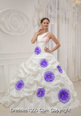 White One Shoulder Beading and Hand Made Flowers Sweet Sixteen Dresses