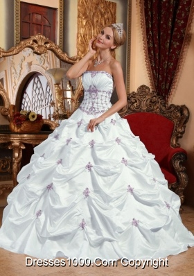 White Strapless Discount Appliques Dress For Quinceaneras