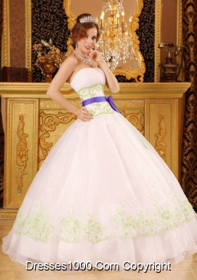 White Strapless Organza Green Embroidery Dress For Quinceaneras
