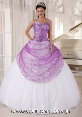 2014 Popular Halter Top Lilac Sequined Quincianera Dresses in White