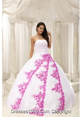 Beautiful Pink Embroidery White Quinceanera Dress For 2014 Spring