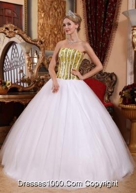 Elegant White Princess Strapless Gold Squins Dresses For 15
