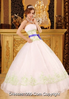 Green Embroidery White Quinceanera Gowns with Purple Bow