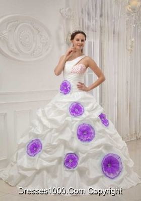 One Shoulder Beaded White Sweet 16 Dresses with Purple Hand Made ...