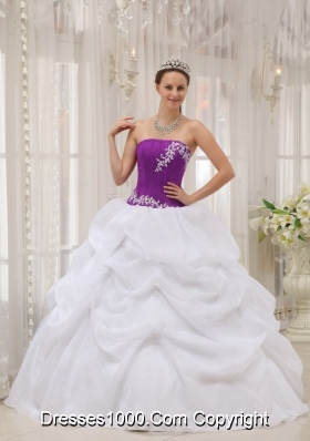 White and Eggplant Purple Strapless Appliques Dresses For a Quinceanera