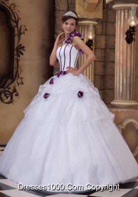 White Princess One Shoulder Quinceanera Gowns with Purple Hand Made Flowers