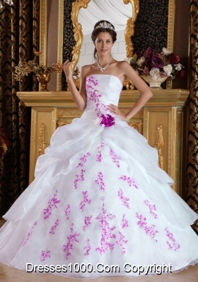 White Princess Strapless Organza Pink Embroidery Dresses For a Quince