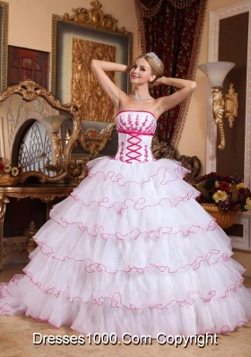 White Strapless Detachable Train Organza Appliques and Layers Dresses For a Quinceanera