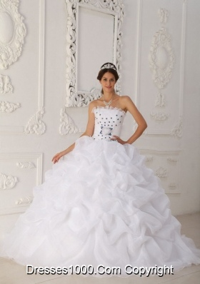 White Strapless Sweep Train Organza Sweet 15 Dresses with Blue Hand Made Flower