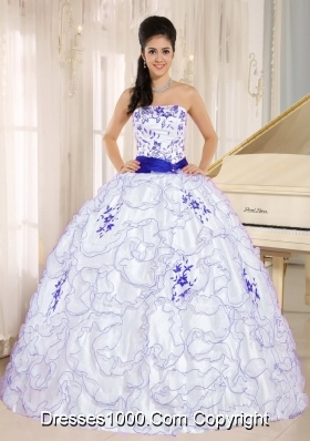 White Strapless Quincenera Dresses with Purple Embroidery and Organza Ruffles