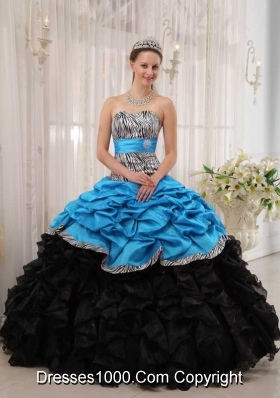 2014 Spring Brand New Puffy Sweetheart Quinceanera Dresses in Blue and Black