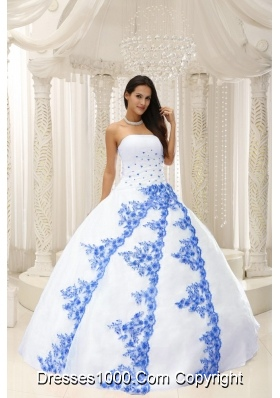 Beautiful White Quinceanera Dresses Gowns with Blue Embroidery