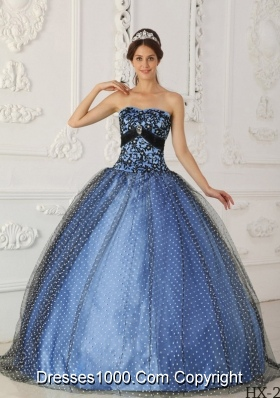 Black and Blue Ball Gown Strapless Floor-length Taffeta and Tulle Beading and Appliques Quinceanera Dress