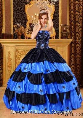 Black And Blue Ball Gown Strapless Floor-length Taffeta Beading Quinceanera Dress