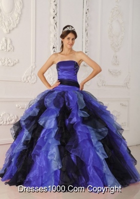 Elegant Appliques and Ruffles Long 2014 Quinceanera Dresses with Strapless