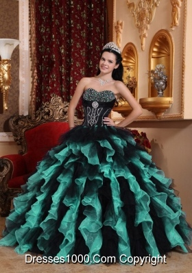 Exclusive Puffy Sweetheart Beading Quinceanera Dresses in Multi-colored