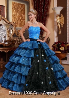 Multi-color Ball Gown Strapless Ruffled Layers Appliques Quinceanera Gown