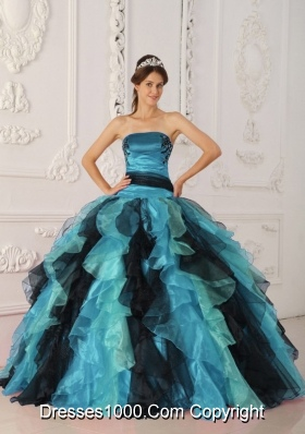 Multi-color Strapless Appliques and Ruffles Puffy 2014 Quinceanera Gowns