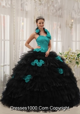 Teal and Black Ball Gown Halter Floor-length Taffeta and Organza Hand Flowers Quinceanera Dress