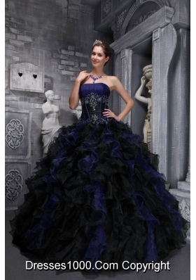 2014 Exclusive Strapless Appliques and Ruffles Multi-color Quinceanera Dresses