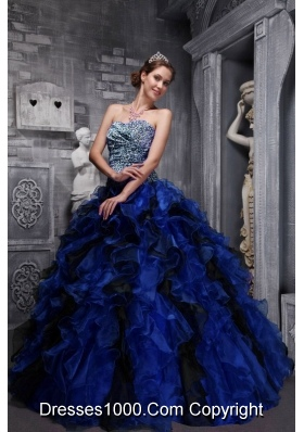 2014 Unique Blue Sweetheart Zebra and Organza Ruffles and Beading Quinceanera Gowns