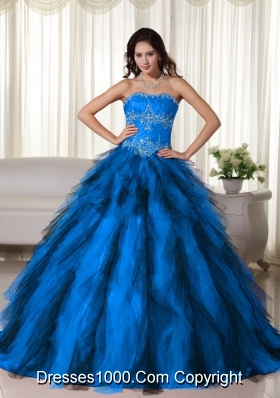 Aqua Blue Ball Gown Strapless Floor-length Floor-length Taffeta Appliques Quinceanera Dress