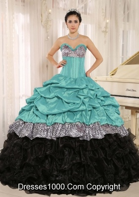 Elegant Blue Sweetheart 2014 Quinceanera Gowns With Ruffles