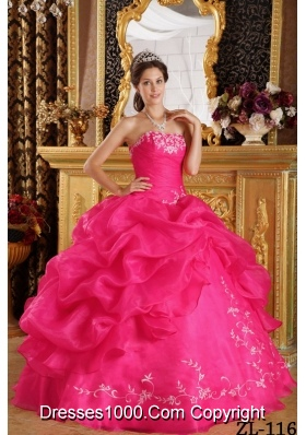 Coral Red Ball Gown Strapless Quinceanera Dress  with  Embroidery Organza