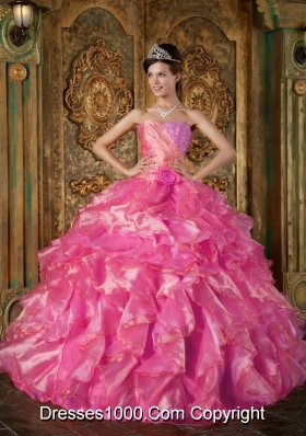 Hot Pink Ball Gown Strapless Quinceanera Dress with  Beading Ruffles