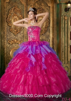 Hot Pink Ball Gown Strapless Quinceanera Dress with  Organza Ruffles