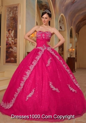Hot Pink Ball Gown Sweetheart Quinceanera Dress with  Organza Embroidery  Beading