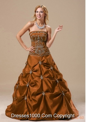 A-line 2014 Brand New Quinceanera Dresses with Embroidery and Pick-ups