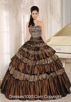 2014 Brown Leopard Ruffled Layers Appliques With Beading Quinceanera Dresses