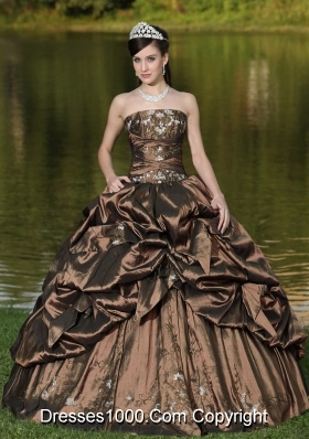2014 Strapless Quinceanera Dress with Beading and Pick-ups