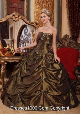 Lovely Brown Ball Gown Strapless for 2014 Beading Quinceanera Dress with Pick-ups