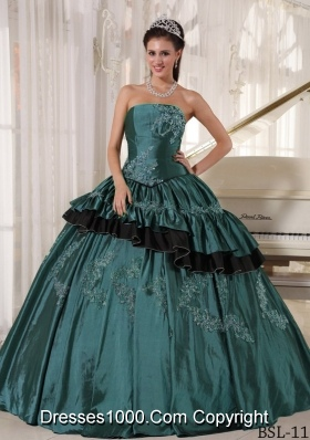Puffy Strapless Turquoise Quinceanera Gown Dress with Beading